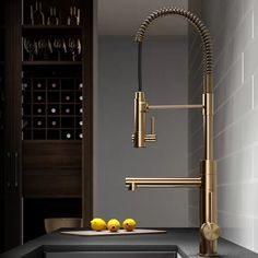 Kraus Artec Pro Commercial Style Pre-Rinse Kitchen Faucet with Pull-Down Spring Spout and Pot Filler, Inch, Brushed Gold in Touch On Kitchen Sink Faucets. Home Interior, Kitchen Interior, Interior Design, Coastal Interior, Interior Modern, Modern Luxury, Interior Ideas, Interior Architecture, Home Design