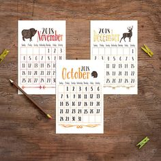 2018 Monthly Calendar Animal calendar Instant digital