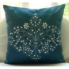 Decorative Throw Pillow Covers Accent Pillow Couch Sofa Bed 16x16 Teal Silk Pillow Cover Crystal Embroidered Teal Damask Pillow Case Bedding... 25.00