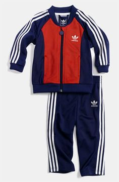 Olympic dressing for the little guy! ~ adidas 'Superstar' Jacket & Pants (Infant) available at #Nordstrom