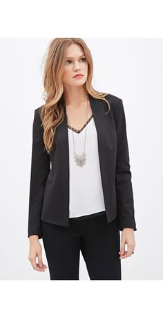 Whether your internship is in a creative field (like fashion) or a more conservative one (like law), a tailored black blazer is a must. It adds instant polish and makes (almost) any shirt or dress work-appropriate. And while it might feel SO basic, a black blazer will go with everything and is perf for throwing on over a cute tank or tee for a night out with your friends. Collarless Woven Blazer, $24.90, forever21.com   - Seventeen.com