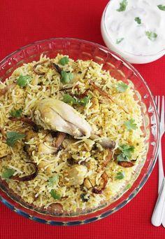 Hyderabadi biryani recipe - Learn how to make hyderabadi restaurant style chicken biryani at home with step by step photos. Served with salan & raita Veg Recipes, Curry Recipes, Indian Food Recipes, Asian Recipes, Chicken Recipes, Cooking Recipes, Recipies, Hyderabadi Biryani Recipe, Hyderabadi Cuisine