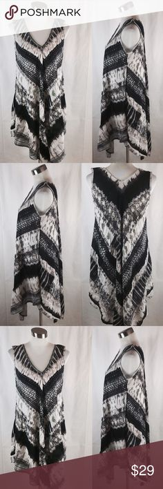 """NEW Black Flared Printed Sundress Black /Cream and Beige Flare Printed V neck Sundress made with Polyester/cotton blend 42"""" long (front) 32"""" long (side) Dresses High Low"""