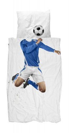 SNURK Soccer Champ Blue Bettwäsche-Set Fußballer blaues Trikot 135x200 cm - 100% Perkal-Baumwolle #romodo.de