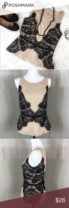 LOFT Lace Peplum Top Ann Taylor LOFT black & blush peplum top. Size 4. Approximate measurements flat laid are 23'long and 17' bust. GUC with no major flaws. Side zip enclosure. This is a unique and beautiful top! Perfect to dress up or down. ❌No trades ❌ Modeling ❌No PayPal or off Posh transactions ❤️ I 💕Bundles ❤️Reasonable Offers PLEASE ❤️ LOFT Tops Blouses