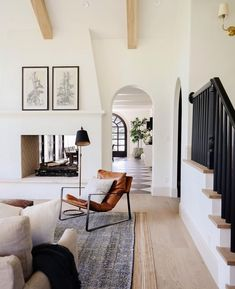 Living Room Interior, Home Living Room, Living Room Decor, Living Spaces, Living Room Stairs, Bedroom With Fireplace, Dark Wood Floors Living Room, Living Room Lighting Design, Fireplace Doors