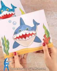 Super fun craft for shark week! Summer Crafts For Toddlers, Diy Crafts For Kids Easy, Easy Christmas Crafts, Toddler Crafts, Preschool Crafts, Halloween Crafts, Fun Crafts, Paper Crafts, Beach Crafts For Kids