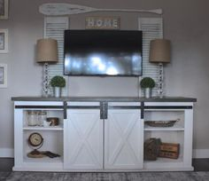Sliding Barn Door Console | Do It Yourself Home Projects from Ana White #theruggedrooster