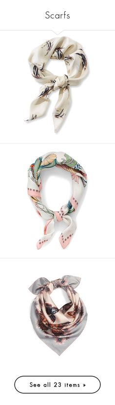 """Scarfs"" by karolinapl ❤ liked on Polyvore featuring scarf, accessories, scarves, silk shawl, print scarves, silk scarves, oversized scarves, patterned scarves, tangerine and bandana scarves"