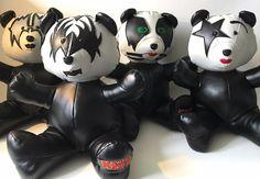 Lot de 4 Ours KISS - 4 Peluches artisanales de collection en simili cuir noire inspiration groupe Kiss de la boutique KarPatCreations sur Etsy