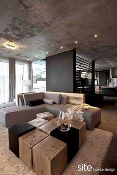 Concrete ceiling + pot lights + black + wood slab coffee table