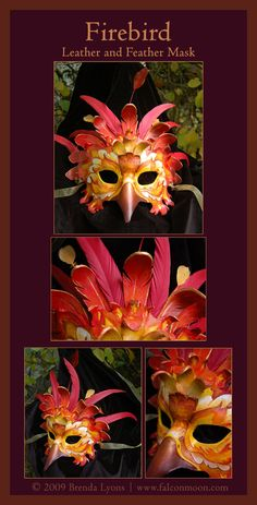 Firebird Leather Mask by Brenda Lyons - Brenda Lyons Illustration