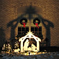 Outdoor nativitiy sets such as this joy nativity yard sign for Baby jesus outdoor christmas decoration