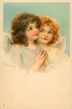Two angels, one praying.  Artist, Frances Brundage ~ 1904.