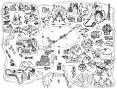 Theme park map for my new romantic YA ghost story, Ride of Your Life. It's about two teenage ghosts who meet and fall in love in a fictional theme park.