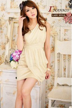 One-shoulder High-waistband Diagonal-ruffle Solid Color Short Dress - BuyTrends.com