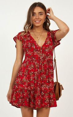 8c8c2dcc0516 Floating Wishes Dress In Red Print Produced By SHOWPO Wish Dresses, Date  Night Dresses,