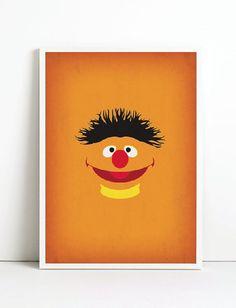 Imprimir Arte Sesame Street vivero arte Ernie por TheRetroInc