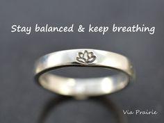 Lotus ring, Lotus flower ring, Yoga ring, Zen ring, Yoga jewelry, Yogi ring, Reminder ring, Zen gift for her, 8 gauge THICK, Sterling silver