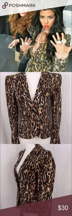 Kardashian Kollection Leopard Blazer - M - NWT Never been worn Kardashian Kollection Leopard Blazer, Coat, Jacket. Really flattering cut, 1 button closure, awesomely dramatic shoulders, small mandarin collar. So cute, ordered it to go with a dress for an event which I didn't end up going to, so it's just been sitting in my closet. Bought new for $99. Kardashian Kollection Jackets & Coats Blazers