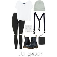 Jungkook Inspired w/ Suspenders by btsoutfits on Polyvore featuring mode, MINKPINK, Topshop, Dr. Martens, Monki and Scotch & Soda