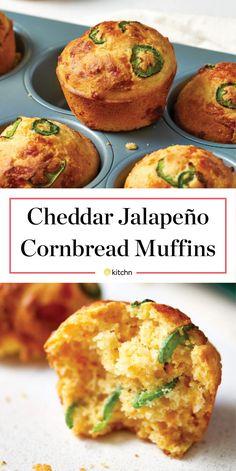 Cheddar- and jalapeño-flecked cornbread muffins are all too easy to love. Jalapeno Cornbread Muffins, Corn Muffins, Savory Muffins, Cornmeal Muffins Recipe, Best Cornbread Recipe For Chili, Mexican Cornbread Muffin Recipe, Healthy Cornbread, Jiffy Cornbread Recipes, Gourmet
