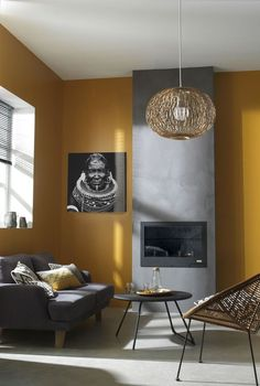 In order to offer your own living room a totally one-of-a-kind look, uniquely designed wall pieces is the … Yellow Walls Living Room, Tan Living Room, Room Decor, Living Room Decor, Minimalist Living Room, Small Apartment Decorating Living Room, Living Room Wall, Interior House Colors, Mustard Yellow Walls