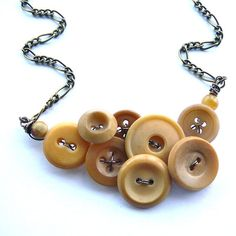 Button Necklace in Honey Camel Tan Brown  by buttonsoupjewelry, $30.00