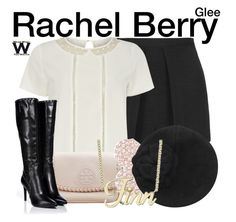"""""""Glee"""" by wearwhatyouwatch ❤ liked on Polyvore featuring Topshop, Dorothy Perkins, Tory Burch, Sergio Rossi, Swarovski, Sonia Rykiel, Rachel, television and wearwhatyouwatch"""