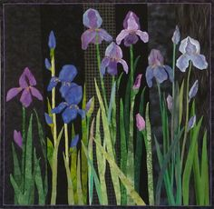 "Beautiful iris ""fracture"" quilt by Joanne Baeth, made in 2008"