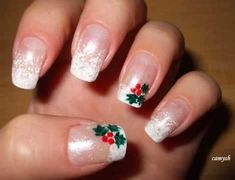 Christmas manicure - Mistletoe on my nails - Nail Art Tutorial Christmas Manicure, Holiday Nail Art, Xmas Nails, Christmas Nail Designs, Christmas Nail Art, Holly Christmas, Simple Christmas, Christmas Wedding, French Nails