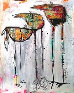 """Getting Ready to Leave the Nest""  by  JACQUI  FEHL  (mixed media)"