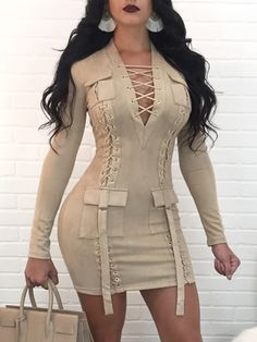 Shop Mini vestido Fashion Lace-up Patchwork Long Sleeve Mini Dress