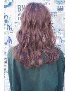 ヘアー ピープル(Hair People) ピンクグレージュ×ウェーブセミロング4☆sa12メルトカラー小顔