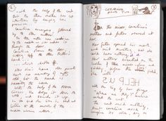 "Hayley Campbell (author of The Art Of Neil Gaiman) shares scans of some of Neil Gaiman's notebooks. ""I bought a fountain pen and a big notebook and wrote it by hand to find out how writing by hand..."