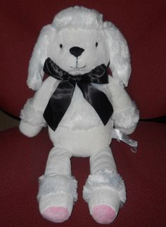 "French White Poodle Dog Plush Stuffed Animal 17"" Petit Tresor Tresar Black Bow #PetitTresor"
