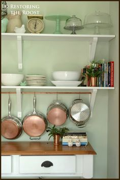 Restoring the Roost: The Kitchen: New Open Shelving and a Potrack