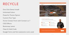 Recycle - Multipurpose WordPress Theme by nilanjanbanerjee Recycle is a clean and trendy one page WordPress template with bootstrap. It can be used for Multiple Business Types for Various B