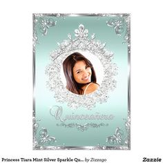 Princess Tiara Mint Silver Sparkle Quinceanera Invitations. Customize by adding your photo.