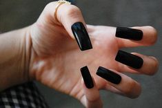 Long Glossy Black Squared Nails OR Matte Set by PicturePlurfect