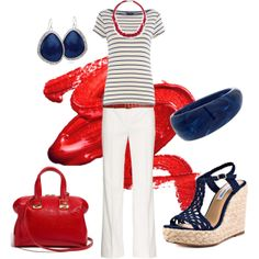 A fashion look from May 2012 featuring striped shirt, white pants and platform sandals. Browse and shop related looks. Holiday Fashion, Spring Fashion, Summer Outfits, Cute Outfits, Summer Clothes, Patriotic Outfit, Simply Fashion, Modest Fashion, Clothes For Women