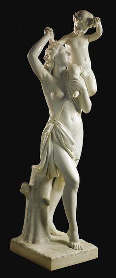 ITALIAN<br> (FIRENZE ? - 1892)<br> BACCHANTE AND THE YOUNG BACCHUS<br> signed<em> A. FRILLI / FIRENZE</em> and inscribed <em>Prof :/ O. Fantacchiotti</em><br> Carrara marble<br> height 6 ft. 4 in.<br> 195.5 cm