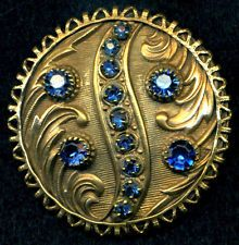 Antique Button..Large Jewel with Prong Set Blue Pastes...Interesting Border