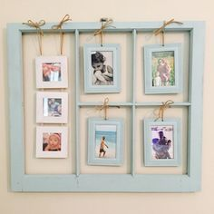 Window frames ideas, old window decor. Window Photo Frame, Photo Frame Display, Photo Displays, Antique Windows, Vintage Windows, Window Frame Decor, Wall Decor, Picture Wall, Picture Frames