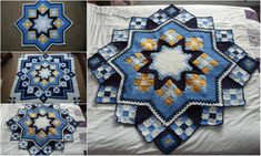 Free pattern - Patchwork Crochet Blanket Leisure Arts #108205, Herrschners Blue-Ribbon Afghans.