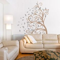 Curly Tree, Leaves and Birds in the Wind--wall decal with family pics