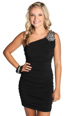 one shoulder homecoming dress with stone design on shoulder