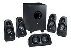 """Logitech Z506 Stereo 5.1-Channel Surround Sound Speakers Enjoy rich, lush audio with the Logitech Z506 Speaker System. These surround sound speakers feature 75W RMS power, and include a down-firing, ported subwoofer with a 5-1/2"""" driver for truly powerful, room-filling sound. With multiple inputs, you have the flexibility to set up the system however you want! Plus, you can even customize the bass level to your liking with the dedicated bass controller. And, for sound that you can hear all…"""