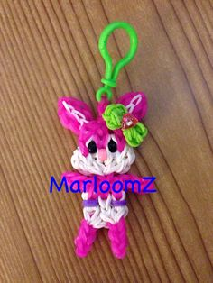 Rainbow loom BABY BUNNY with Bow keychain. Designed and loomed by MarloomZ Creations. 04/04/14.
