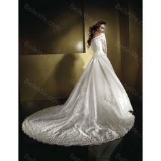 Robe de mariée ample en satin longue blanche avec manches dentelle traine